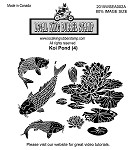 KOI POND (4) STATIC MOUNTED RUBBER STAMPS
